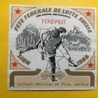 9047 - Fête Fédérale De Lutte Suisse Sion 1986 Dôle & Fendant 2 étiquettes - Etiketten