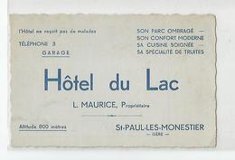Carte De Visite Cdv St Paul Les Monestier Hotel Du Lac Isère 38 - Visiting Cards
