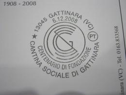 G1 ITALIA GATTINARA VINO UVA ENOLOGIA WINE WEIN ENOLOGY ENOLOGIE - ANNULLO 2008 CANTINA SOCIALE COOP - Francobolli
