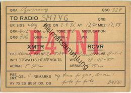 QSL - QTH - D4VNI - 1931 - Amateurfunk