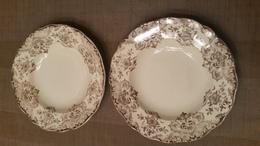 2 Antieke Soepborden Brown & Cream Met Bloemen-transferware - Signés