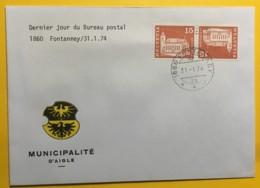 8025 -Dernier Jour Du Bureau De Poste De 1860 Fontanney 31.01.1974 Sur Tête-bêche - Marcophilie