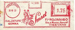39906g  Italia, Red Meter Freistempel Ema (CUT)  1933, Vigevano Calzature Gomma, Tennis Racket,Tennisschläger - Tennis