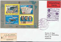 Concorde Block Uruguay Auf Express-R-Brief Nach Deutschland - Concorde