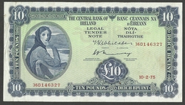 IRELAND REPUBLIC £10 POUNDS 1975 SIGN. WHITAKER & MURRAY PICK # 66c VF BANKNOTE - Ireland