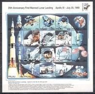 R731 PALAU SPACE 25TH ANNIVERSARY APOLLO 11 FIRST LUNAR LANDING 1SH MNH - Space