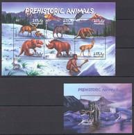 R737 MALDIVES FAUNA PREHISTORIC ANIMALS 1BL+1KB MNH - Prehistorics