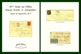 Catalogue 58éme Vente Sur Offres Roumet 2017 Histoire Postale Et Autographes - Catalogues For Auction Houses