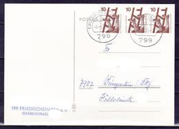 BRD, MiNr. 695 A (waager. Paar + Einzelmarke) MeF Auf Portoger. Karte Von Friedrichshafen Nach Weingarten; B-327 - [7] Federal Republic