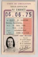 1974 CARTE DE CIRCULATION SOUS OFFICIER TARIF MILITAIRE SUR SNCF    B650 - Documents