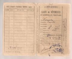 1942 CARTE DE VETEMENTS ET D'ARTICLES TEXTILES / VOLX BASSES ALPES   B652 - Historical Documents