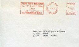 39922g  Monaco Red Meter Freistempel Ema, Cover 1984 Principautè, 1984 Monte Carlo Open Tennis - Tennis