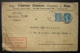 Metz (Moselle) 1934 Charles Zimmer Huissier, Lettre Pour Metz  Format 19.5 X 12.7 Cachet Au Revers - Marcophilie (Lettres)