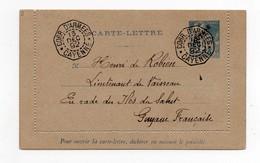 !!! PRIX FIXE : GUYANE, ENTIER DES COLO GENERALES, CACHET CORR D'ARMEES CAYENNE DU 13/12/1892 - Guyane Française (1886-1949)