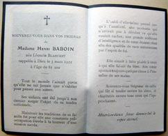 MEMORANDUM  SOUVENIR  MADAME HENRI BABOUIN  NEE BLANCHET  FAIRE PART DECES - Décès