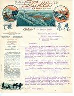 BELLE FACTURE COULEUR COURRIER COMMERCIAL ETABLISSEMENTS DOLBE A VESOUL 1925 VIGNETTE FOIRE DE LYON - Agriculture