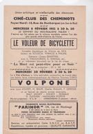 CINE CLUB DES CHEMINOTS, Paris, Programme Ciné Mois De Février 1952, Le Voleur De Bicyclette Et Volpone - Programs