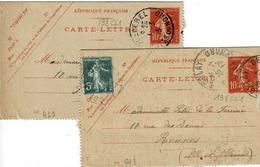 2 Cartes 138 CL 1 , Dates 613 Et 429, 111 X 70 Mm,de Bêcherel Et Corlay Pour Rennes - Entiers Postaux