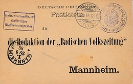 CP Frei Lt Aversum No 19 / Kaiserlicher / Wasserbauinspektor Obl STRASSBURG / * (ELS) 2 A Du 6.8.88 Adressée à Mannheim - Postmark Collection (Covers)