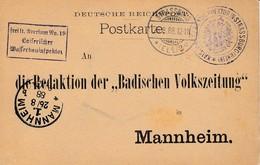 CP Frei Lt Aversum No 19 / Kaiserlicher / Wasserbauinspektor Obl STRASSBURG / * (ELS) 2 A Du 6.8.88 Adressée à Mannheim - Marcophilie (Lettres)
