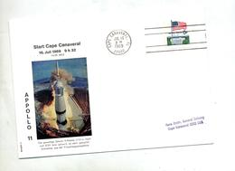 Lettre Flamme Cape Canaveral Depart Apollo 11 - Covers & Documents