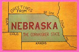 Carte Géographique - Greetings From Nebraska - The Cornhusker State - State Flowe, Bird, Tree - Etats-Unis