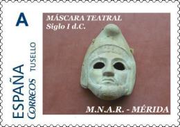 "Spain 2015– España ""Tu Sello"". Sello Personalizado De ""Máscara Teatral Masculina"" De Cerámica Del MNAR De Mérida - Archaeology"