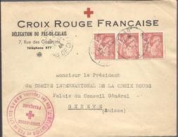 FRANCE -- Enveloppe CROIX ROUGE FRANCAISE 3 Timbres Type Iris 1 F 50 Orange - Càd ARRAS 24.12.1944 Pour Genève - 1939-44 Iris