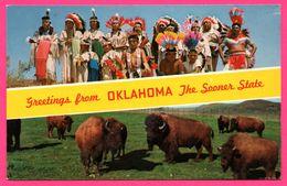 Greetings From OKLAHOMA - The Sooner State - Top Indians In Ceremonial Dress - Bottom Buffalo Herd - Edit. MIRRO KROME - Etats-Unis