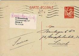 Carte 435 CP 1 , Pas De Date, 149 X 103 Mm,  De Lyon Pour Zürich - Entiers Postaux