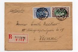 !!! PRIX FIXE : OCEANIE, TAHITI, LETTRE RECOMMANDEE DE PAPEETE DE 1925 POUR VIENNE, AFFRANCH RECTO-VERSO - Lettres & Documents