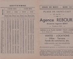 Agence REBOURS, Plage De Saint Cast, Publicité Avec Calendrier Des Marées 1947 - Publicités