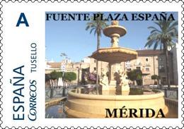 """Spain 2018– España """"Tu Sello"""". Sello Personalizado De La Fuente De La Plaza De España De Mérida - Architettura"""