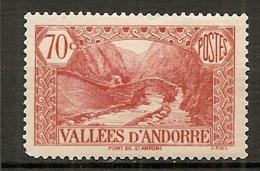 ANDORRE - Yv. N° 69   *  70c  Paysages    Cote  2,5  €  BE - Andorre Français