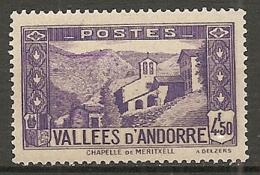 ANDORRE - Yv. N° 90   *  4f50  Paysages    Cote  1,85  €  BE - Andorre Français