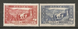 ANDORRE - Yv. N°,85,87   *  2f40,2f50  Paysages    Cote  3  €  BE - Neufs