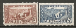 ANDORRE - Yv. N°  88,89   *  3f,4f  Paysages    Cote  1  €  BE - Neufs