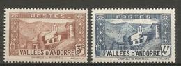 ANDORRE - Yv. N°  88,89   *  3f,4f  Paysages    Cote  1  €  BE - Andorre Français