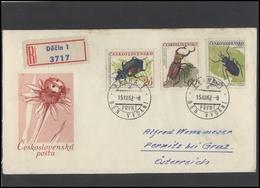 CZECHOSLOVAKIA Brief Postal History Envelope CS 263-4 Fauna Insects - Czechoslovakia