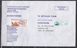 Ca. 1990 Aangetekende (Remboursement) Envelop Rijksdienst Voor Het Wegverkeer Veendam Naar IJmuiden - Poststempels/ Marcofilie