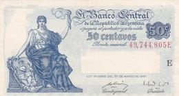 CINCUENTA CENTAVOS ARGENTINE. SERIE E CIRCA 1890s-BILLETE BANKNOTE BILLET NOTA-BLEUP - Argentinië