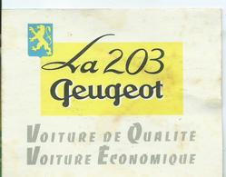 CALENDRIER 1953 - PEUGEOT 203 - Calendriers