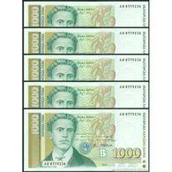 TWN - BULGARIA 105a - 1000 1.000 Leva 1994 DEALERS LOT X 5 - Prefix AИ UNC - Bulgaria