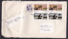 """1986 PTT Sticker """"BESCHADIGD TE CUYK ONTVANGEN.....DATUM...."""" Op Brief Uit Polen. De Onderzijde Was Opengesneden ! - Poststempels/ Marcofilie"""