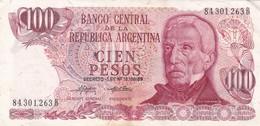 CIEN PESOS ARGENTINE SAN MARTIN CIRCA 1980s-BILLETE BANKNOTE BILLET NOTA-BLEUP - Argentinië