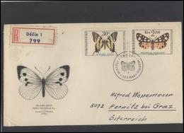 CZECHOSLOVAKIA Brief Postal History Envelope CS 280-82 Fauna Insects Butterflies - Czechoslovakia