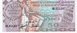 BURUNDI 50 FRANCS  1991 P-28 UNC - Burundi