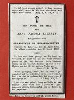 Anno 1850 - ANNA JACOBA LAUREYS Echtg SERAPHINUS DE SCHAEPMEESTER - LOKEREN 1782 - 1850 - Devotieprenten
