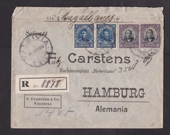 Chile: Registered Cover To Germany, 1912, 4 Stamps, Via Magellanes, R-label, Wax Seal (minor Damage, See Scan) - Chili
