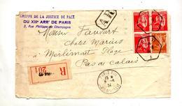 Devant De Lettre Recommandee Paris 11 Sur Paix Semeuse - Marcophilie (Lettres)